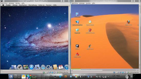 mein trinity-setup: links mac os x lion, rechts windows xp mit virtualbox. unten: linux, wie gehabt