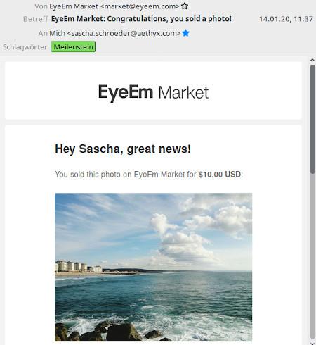 EyeEm: mein erstes verkauftes Photo, yay!
