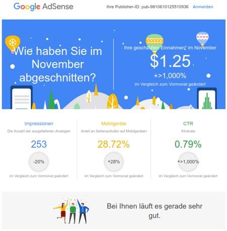 Und Google Adsense so: bei dir laeuft es sehr gut!111