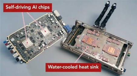 der KI-Chip und das Mainboard des Tesla Model 3