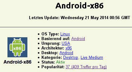 android x86 auf distrowatch