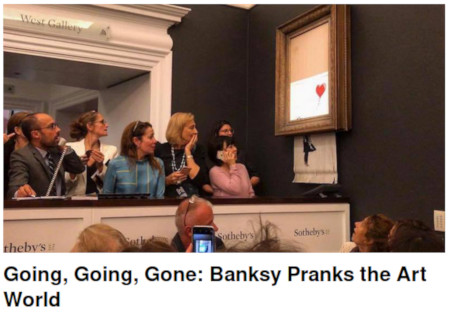 Banksy schreddert sein Werk Girl with balloon