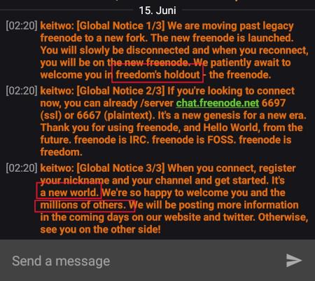 Screenshot freenode Message aus Revolution Client